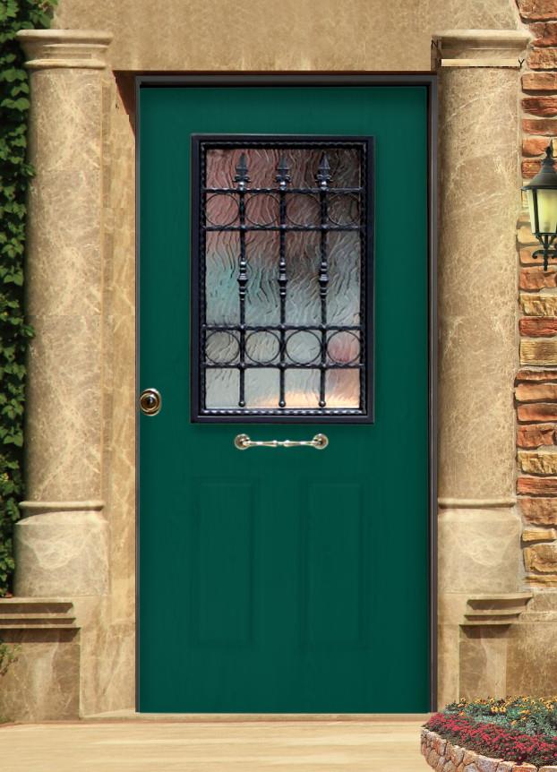 Portone blindato oxford verde vetrata e grata a lance blindo facile - Portone blindato esterno prezzi ...